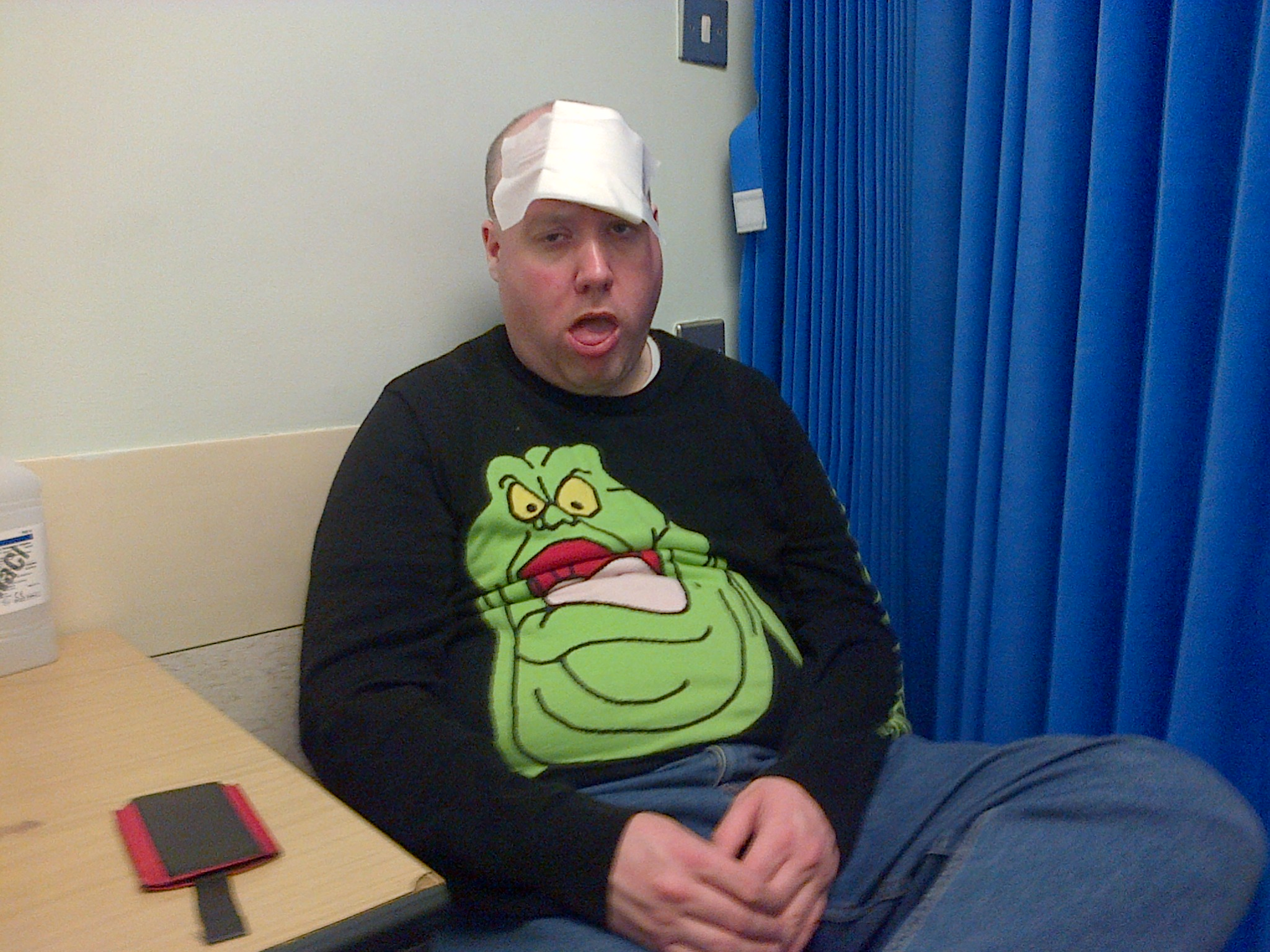 Me doing my Slimer impression in A&E